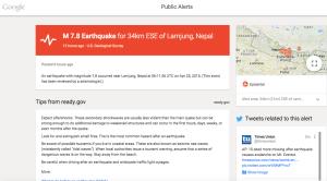Google Public Alerts page